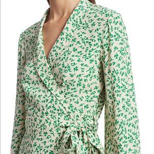 GANNI Leaf Print Crepe Wrap Blouse In Green